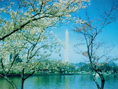 Washington Monument Digital Art - Washington Monument Retro Spring by Cathy Anderson