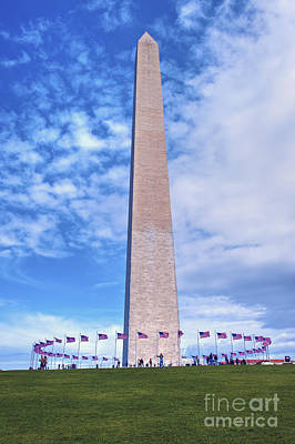 Photograph - Washington Monument Washington Dc Framed By American Flags by David Zanzinger