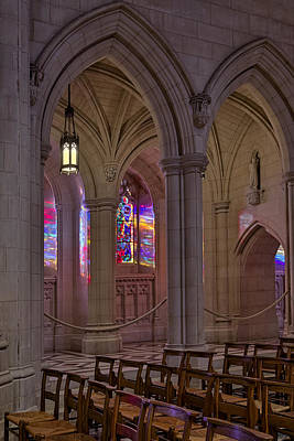 Photograph - Washington National Cathedral Stained Glass Colors by Susan Candelario