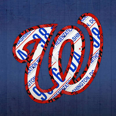 License Mixed Media - Washington Nationals Vintage Baseball Logo License Plate Art by Design Turnpike