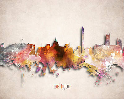 Washington D.c Digital Art - Washington Painted City Skyline by World Art Prints And Designs