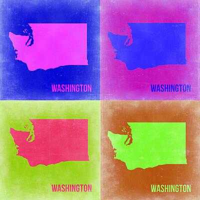 Washington Painting - Washington Pop Art Map 2 by Naxart Studio