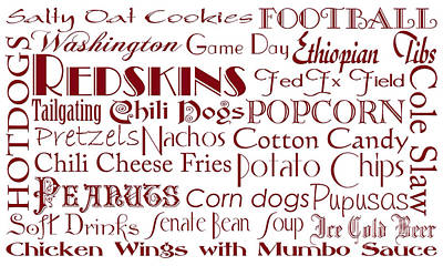 Digital Art - Washington Redskins Game Day Food 1 by Andee Design