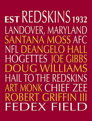 Digital Art - Washington Redskins by Jaime Friedman