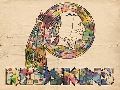 Washington Nationals Painting - Washington Redskins Logo Art by Florian Rodarte