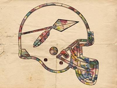 Painting - Washington Redskins Old Helmet by Florian Rodarte
