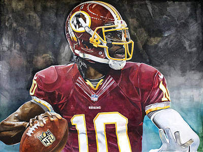 Autographed Painting - Washington Redskins' Robert Griffin IIi by Michael  Pattison