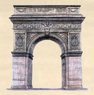 Washington Square Drawing - Washington Square Arch New York City by Gerald Blaikie