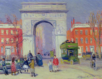 School Bus Painting - Washington Square Park, C.1908 by William James Glackens