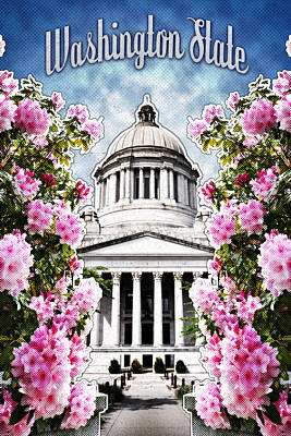Northwest Digital Art - Washington State Capitol by April Moen