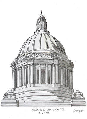 Drawing - Washington State Capitol by Frederic Kohli