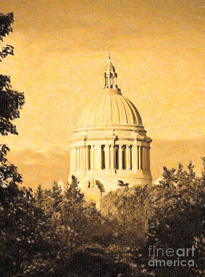 Washington State Legislative Building In Gold Art Print