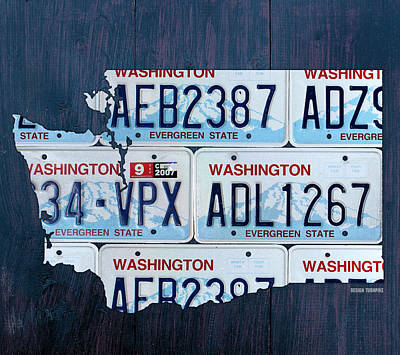 Mixed Media - Washington State License Plate Map Art by Design Turnpike