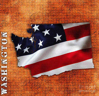 Washington State Map American Flag  Art Print by Marvin Blaine