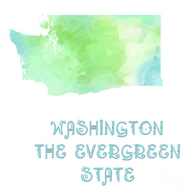Washington - The Evergreen State - Map - State Phrase - Geology Art Print by Andee Design