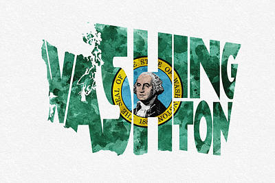 County Map Digital Art - Washington Typographic Map Flag by Ayse Deniz