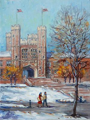 St. Louis Painting - Washington University - First Snow by Irek Szelag