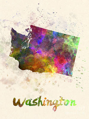 Cartography Painting - Washington Us State In Watercolor by Pablo Romero