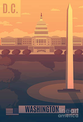 Digital Art - Washington Vector Landescape.washington by Travel Drawn