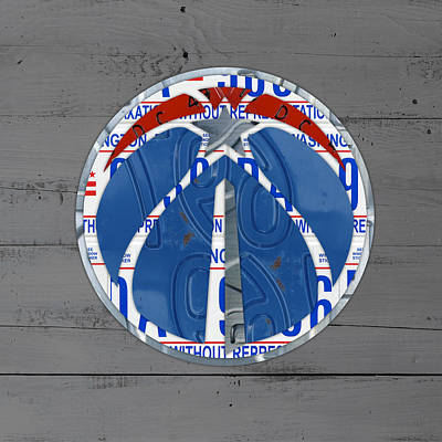 Washington Wizards Basketball Team Logo Vintage Recycled District Of Columbia License Plate Art Art Print