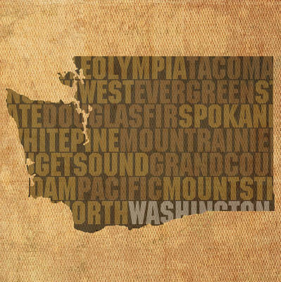 Wall Art - Mixed Media - Washington Word Art State Map On Canvas by Design Turnpike