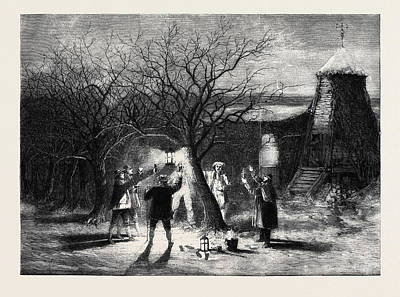Wassailing Apple-trees With Hot Cider In Devonshire Print by English School