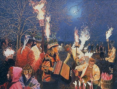 Eve Photograph - Wassailing In Herefordshire, 1995 Oil On Board by Huw S. Parsons