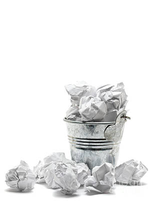 Waste Basket With Crumpled Papers Art Print by Shawn Hempel