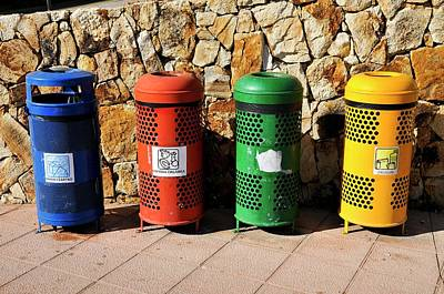 Separation Photograph - Waste Separation And Recycling Bins by Photostock-israel