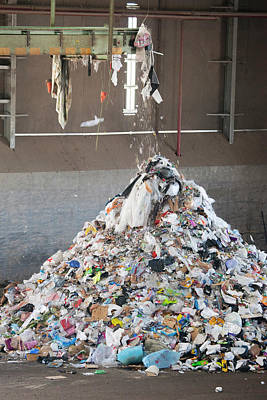 Waste Stream At A Recycling Centre Art Print by Peter Menzel