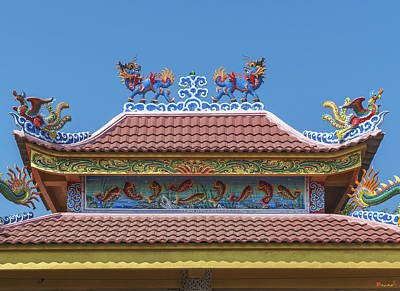 Photograph - Wat Bang Phueng King Taksin Shrine Dragon Roof Dthb1882 by Gerry Gantt