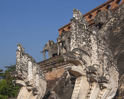 Photograph - Wat Chedi Luang Phra Chedi Luang Five-headed Naga And Elephants Dthcm0055 by Gerry Gantt