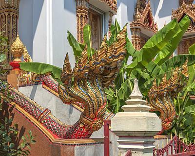 Photograph - Wat Dokmai Phra Ubosot Stair Naga Dthb1783 by Gerry Gantt