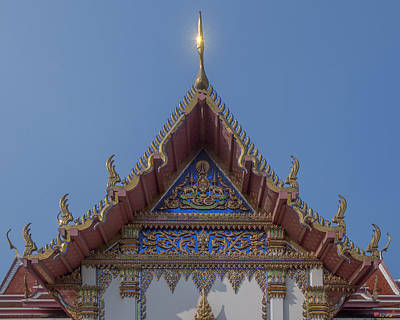 Photograph - Wat Phichai Songkhram Phra Ubosot Side Entrance Gable Dthsp0046 by Gerry Gantt