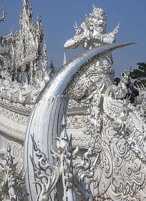 Photograph - Wat Rong Khun Ubosot Causeway Guardian And Tusk Dthcr0006 by Gerry Gantt