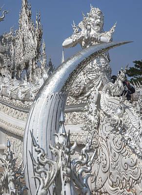 Photograph - Wat Rong Khun Ubosot Causeway Guardian And Tusk Dthcr0006 by Gerry Gantt