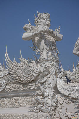 Photograph - Wat Rong Khun Ubosot Causeway Guardian Dthcr0007 by Gerry Gantt