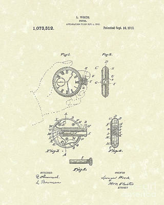 Drawing - Watch Pistol 1913 Patent Art by Prior Art Design