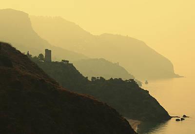 Watch Towers On The Marocerro Gordo Cliffs Print by Ken Welsh