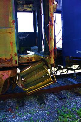 Old Caboose Photograph - Watch Your Step by Chuck  Hicks
