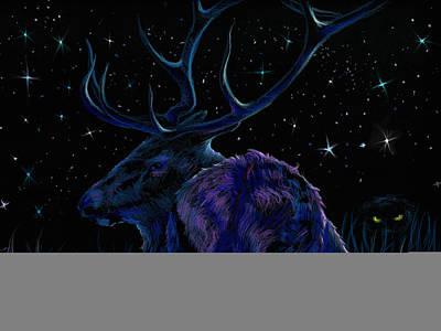 Elk Drawing - Watched  by Yusniel Santos