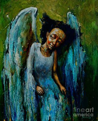 Guardian Angel Oil Painting - Watchful Angel by Michal Kwarciak