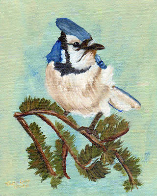 Painting - Watchful Blue Jay by J Cheyenne Howell