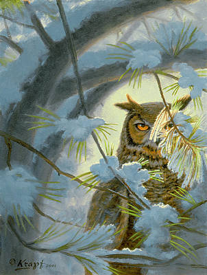 Snowed Trees Painting - Watchful Eye-owl by Paul Krapf