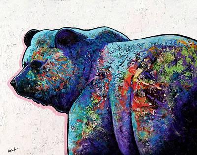 Watchful Eyes - Grizzly Bear Art Print by Joe  Triano