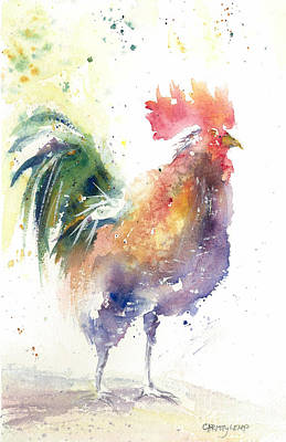 Painting - Watchful Rooster by Christy Lemp
