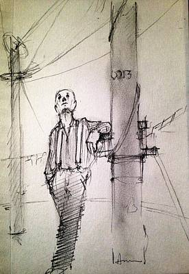 Works Drawing - Watching Her by H James Hoff