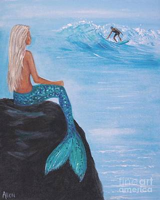 Painting - Watching Her Surfer by Leslie Allen