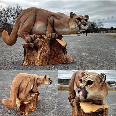 Cat Wood Carving Sculpture - Watching by Jon Vincent Antonuk