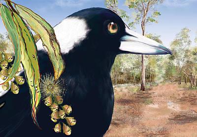 Magpies Digital Art - Watching by Lynne Wilson